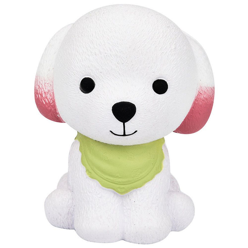 New Arrival 1Pcs Jumbo Puppy Cream Dog Cute Squishy Toy Slow Rising Squeeze Decompression Toys A Stress Reliever Green + White