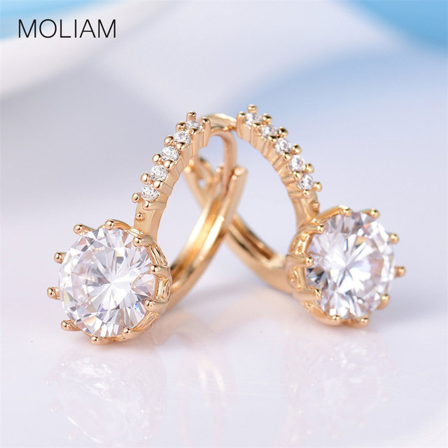 MOLIAM High Quality Hoop Earrings for Women Fashion Trendy Round Cubic Zirconia  Brinco Jewelry for Women Christmas Gift MLE006
