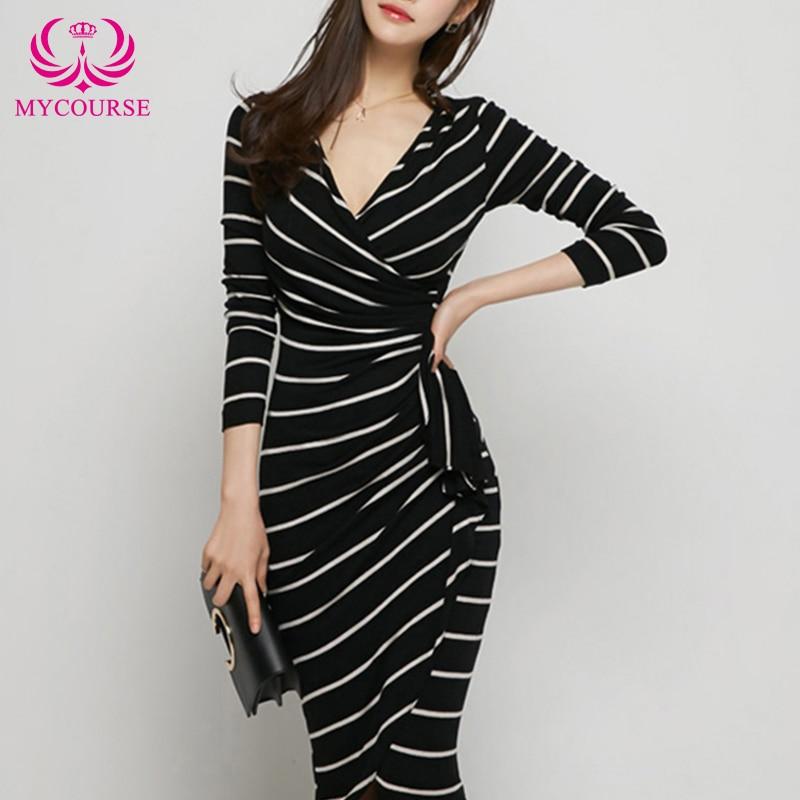 MYCOURSE Women Dress 2016 New Fashion Slim Sexy OL Stripe V-neck Long Sleeve Buiness Elegant Bodycon Sheath Dresses Black White