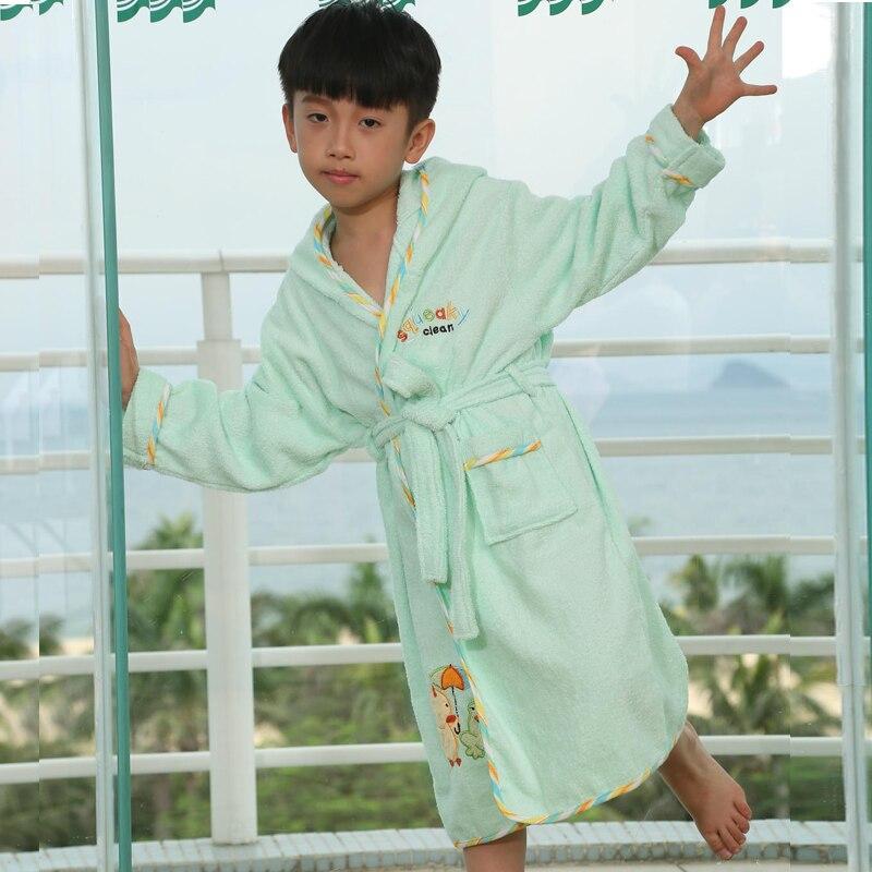 High Quality Bathrobes Kids Big Boys 100% Cotton Hooded Pajamas Spring Summer Autumn Warm Sleepwear Mother Robe Cartoon Robes