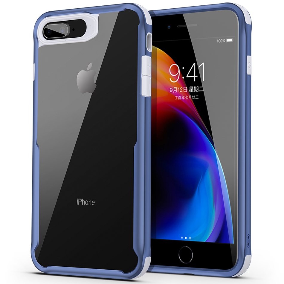 Mobile Phone Cases For Apple iPhone7PLUS / 8 PLUS Hard Rugged TPU Transparent Anti-knock Shockproof Protective Back Cover Shell