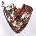 Квадратный шелковый шарф печатных для дам европа марка женский атласная шарфы платки 90 * 90 см кофе, Голубое озеро, Темно-синий, Красная роза