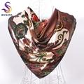 Café quadrado lenço de seda impresso para senhoras europa feminino xales 90 * 90 cm de cetim, Lago azul, Azul escuro, Red