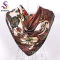 Coffee Square Silk Scarf Printed For Ladies Europe Brand Female Satin Scarves Shawls 90*90cm Coffee,Lake Blue,Dark Blue,Rose Red