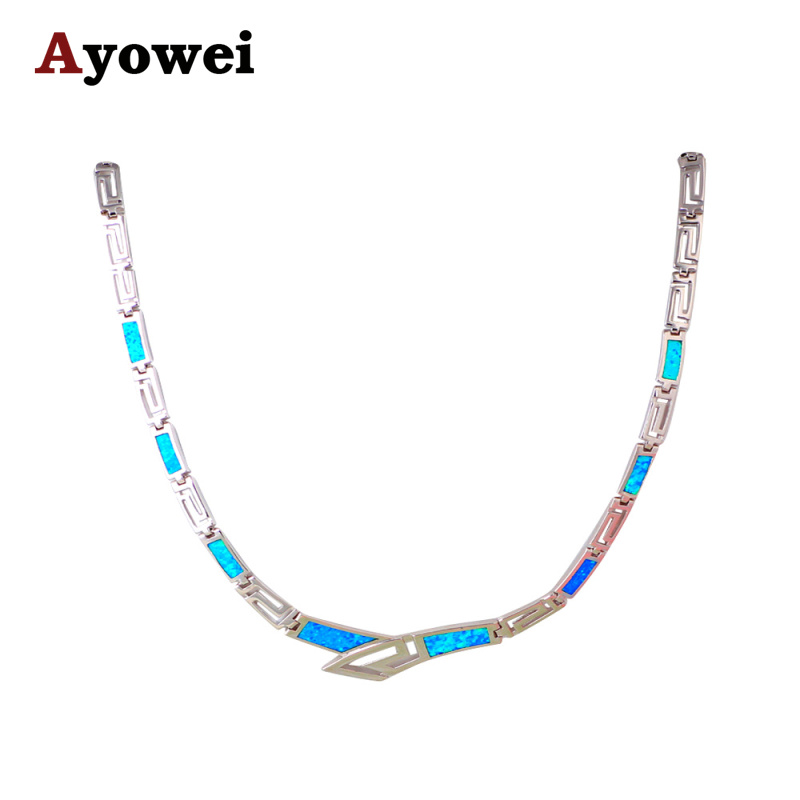 New Fashion Jewelry for Women Luxury Design Blue Fire Opal Silver Stamped Necklace Link Chain Jewelry for Anniversary LN608A