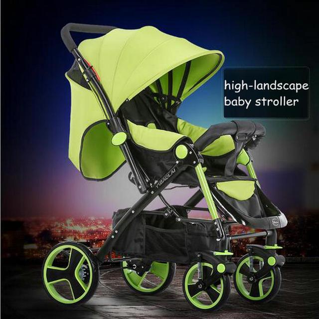 Pode se sentar & mentira carrinho de bebê com rodas de absorção de choque duplo de alta paisagem carrinho de bebê dobrado pode reverter a empurrar o bebê carrinho de criança