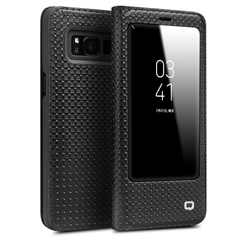 QIALINO Fashion Genuine Leather Case Cover for Samsung Galaxy S8 & S8 Plus Ultrathin Flip Bag sleep wake function 5.6/6.1-inch