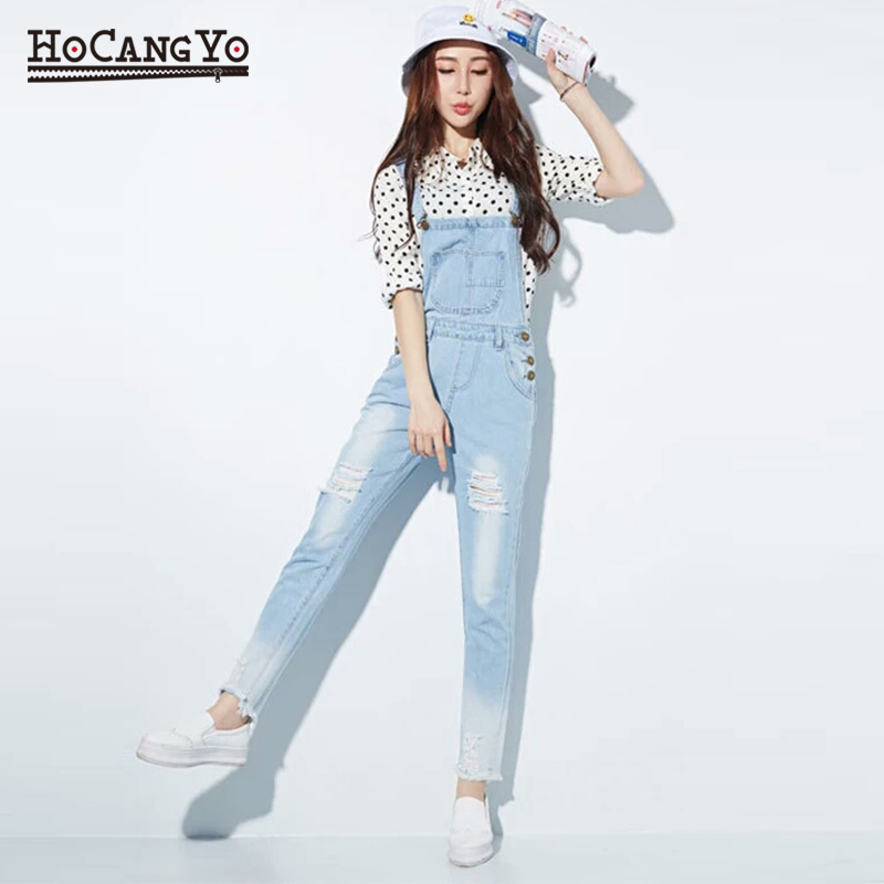 HCYO Fashion   Jumpsuit   Female Denim Overalls for Women Bodysuit salopette femme En Jean Women Ripped Hole Denim   Jumpsuits   Rompers