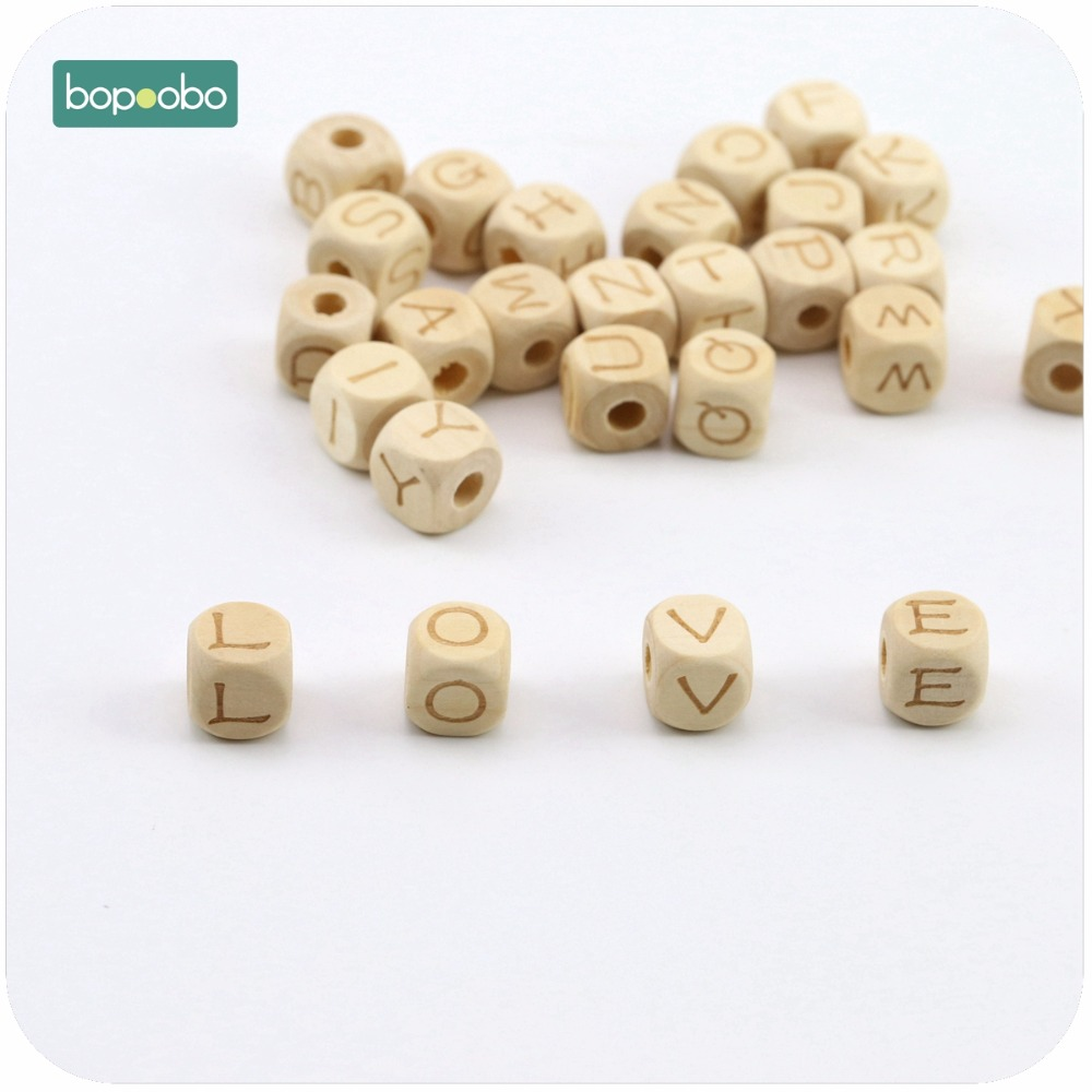 Bopoobo Baby Nursing Accessories Square Shape 12mm 10pc Chew Wooden Letter Beads DIY Teething Jewelry Crib Toy Baby Teether