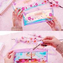 2019 New Simple Transparent Pencil Bag Pink Girl Stationery Storage Bag Printed Flower Pencil Case(China)