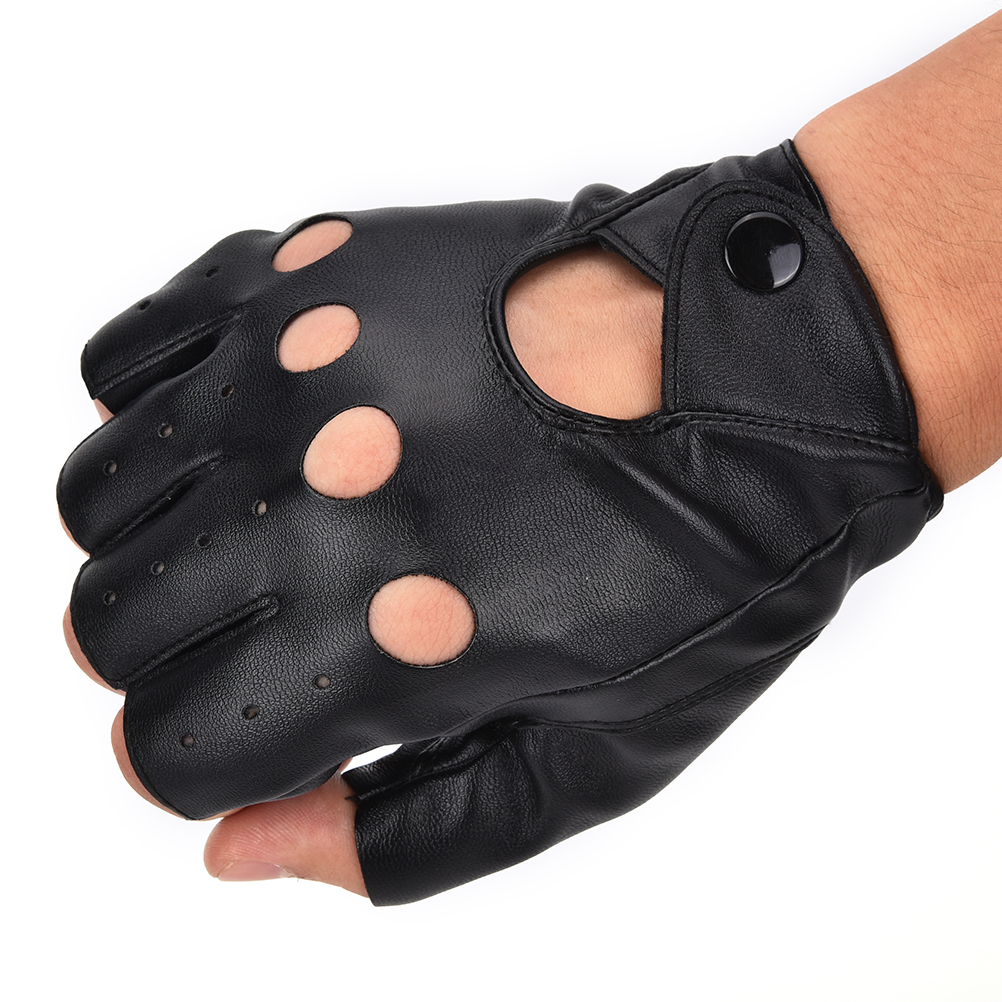 1 Pair Fashion motor Punk Gloves Unisex Black PU Leather Fingerless Gloves Solid Female Half Finger Driving Women Men