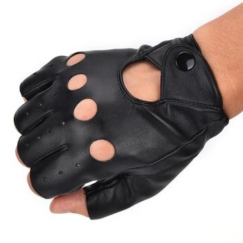 1 Pair Fashion motor Punk Gloves Unisex Black PU Leather Fingerless Gloves Solid Female Half Finger Driving Women Men