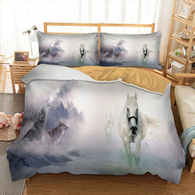 Dropshipping 3d white horse Bedding set polyester Duvet Cover Bed Set Single Twin queen king size home textile