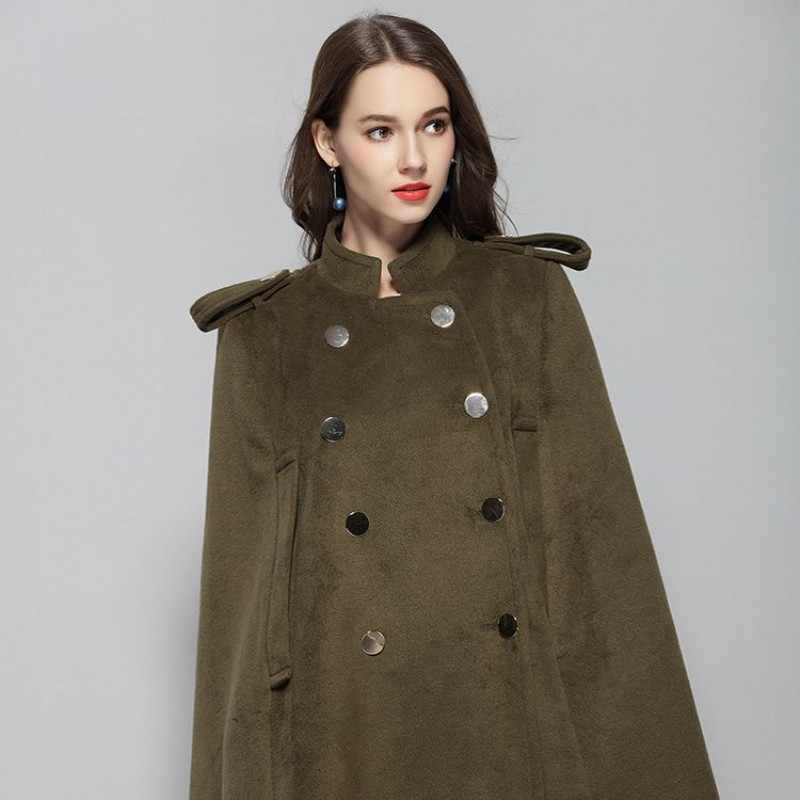 a009c6b66e2 ... Military Green Cape Ponchos Wool Coat Women Solid Double Breasted Stand  Collar Plus Size Loose High ...