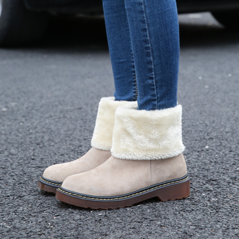 Women's Winter Snow Boots Woman Genuine Leather Ankle Boot Plus Size 34-43 Flat Warm Cotton Down Shoes Woman Winter Boots Female winter snow boots woman platform ankle boot warm cotton down shoes women s winter snow boots female winte boots