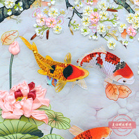 Landscape Painting DIY Ribbons Embroidery Fish Flower Needlework Kits Cross Stitch Crafts Wall Art Living Room Decoration C 0191