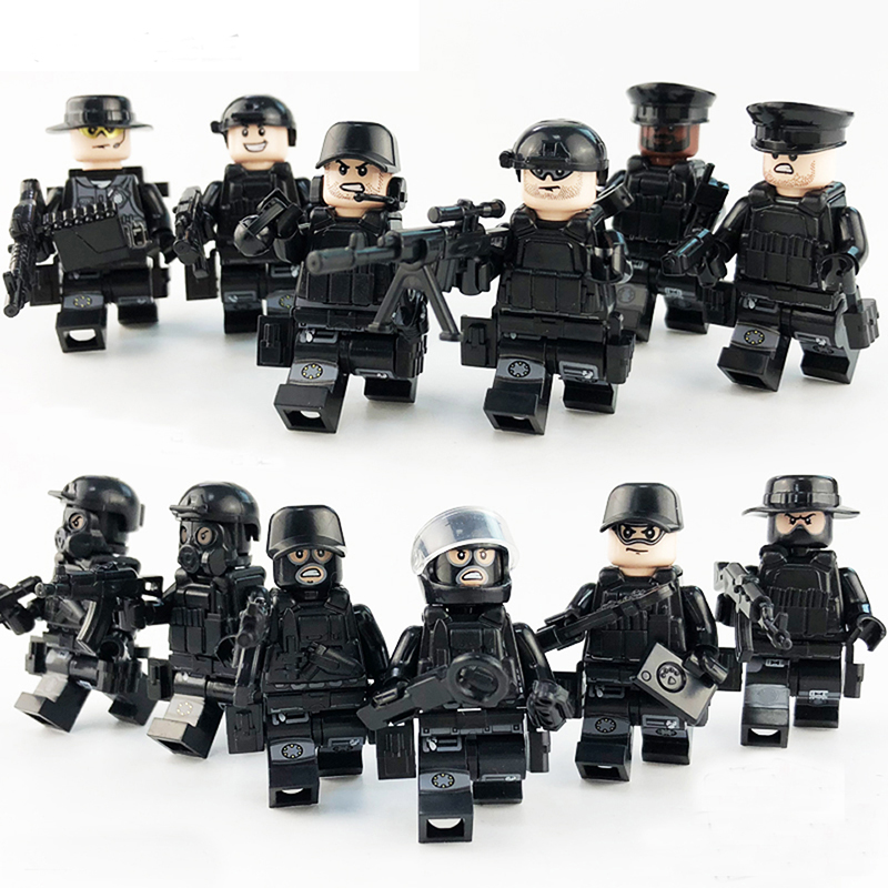 12pcs LegoINGlys Military Mini Figures SWAT City Police with Weapon Bulletproof vests Mask Building Blocks Toys for Boys Gift military swat cars city police figure building blocks minifigures set christmas gift boys educational toys for children page 2