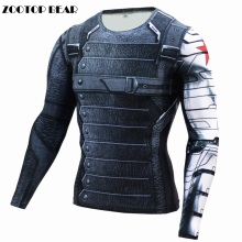 3D Winter Soldier T-shirt Captain America 3 Men Compression Fitness Crossfit Top Halloween t-shirt Superman T 2017 ZOOTOP BÄR