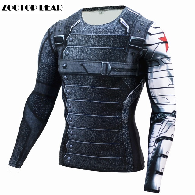 325f701514cd7 3D Winter Soldier T-shirt Captain America 3 Men Compression Fitness  Crossfit Top Halloween T shirt Superman Tee 2017 ZOOTOP BEAR