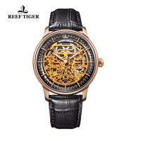 Reef Tiger/RT Designer Skeleton Watches for Men Rose Gold Calfskin Leather Strap Automatic Watch RGA1975