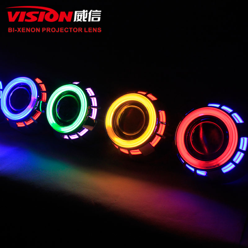 Free Shipping IPHCAR Car Styling Red Angel Eyes Projector Lens for Car Retrofit Accessories Xenon Lens H1 H7 H11 1pcs 3d simulation of car stickers car accessories styling moulding motorbike decals free shipping