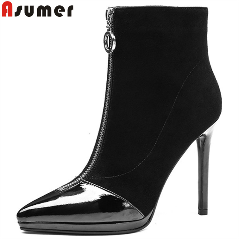 ASUMER black fashion autumn winter boots women pointed toe zip ankle boots for women genuine leather boots thin high heels shoes asumer black fashion autumn winter boots women pointed toe zip genuine leather boots thick high heels ankle boots big size 33 43