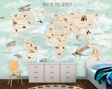 beibehang Custom childrens room wall 3d wallpaper cartoon airplane sailing animal world map background murals