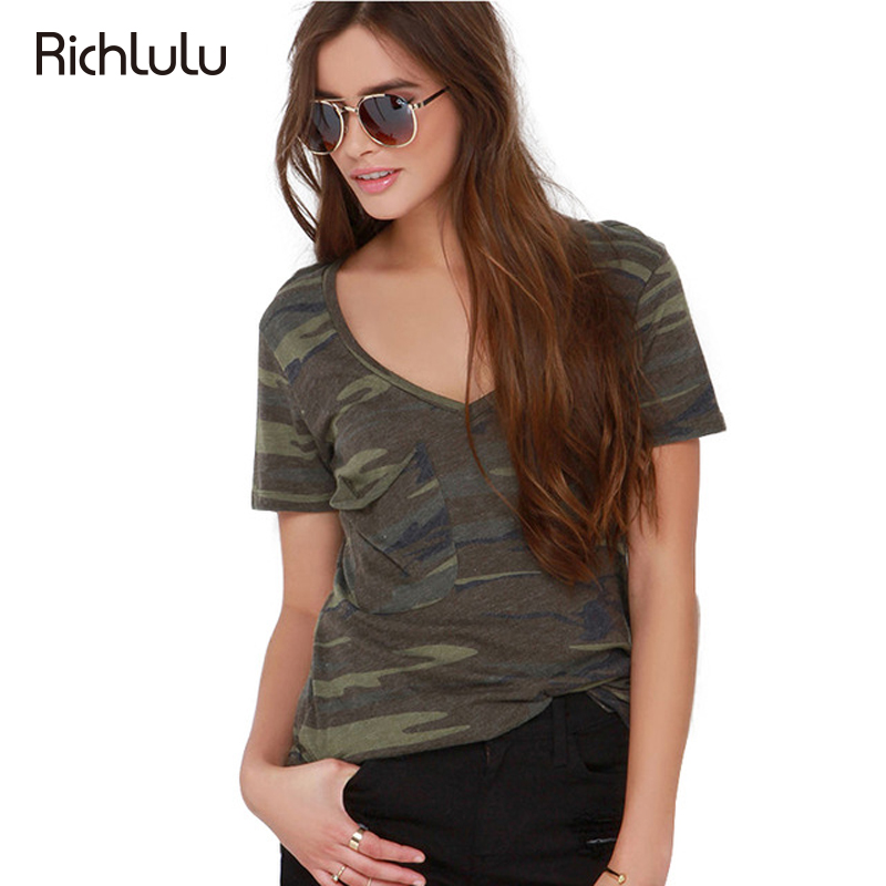 Richlulu Sexy Camo Print Women Tees V Neck Short Sleeve