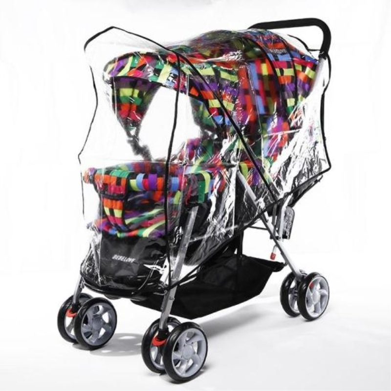 Big Twins Baby Carriage Stroller Rain Cover Baby Stroller Canopy Waterproof Rain Cover Wind Shield Pushchair Stroller Accessory stroller rain cover waterproof cover universal twins baby stroller rain cover windproof baby carriage stroller accessories