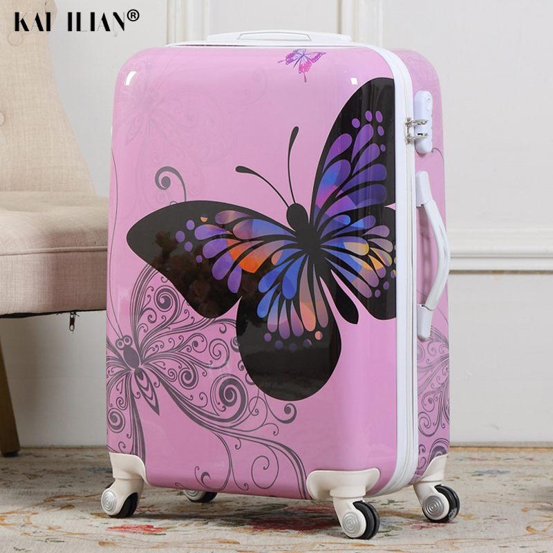 Dessin animé mignon étudiant roulement bagages Spinner enfants papillon Trolley valise roues enfants continuent sac de voyage valise femmes