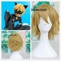 Free Shipping Miraculous Ladybug Adrien Cat Noir Blonde short cosplay wig +a wig cap