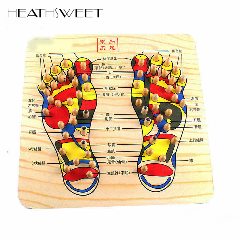 Healthsweet Pedal Acupoint Foot Massage Device Acupressure Reflexology Foot Massager Wooden Stepping Board Foot Reflex Pad Plate electric antistress therapy rollers shiatsu kneading foot legs arms massager vibrator foot massage machine foot care device hot