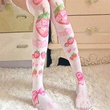 Medias de tubo largas estampadas para mujeres atractivas para fiestas divertidas japonesas Kawaii sobre la rodilla delgadas medias altas de muslo
