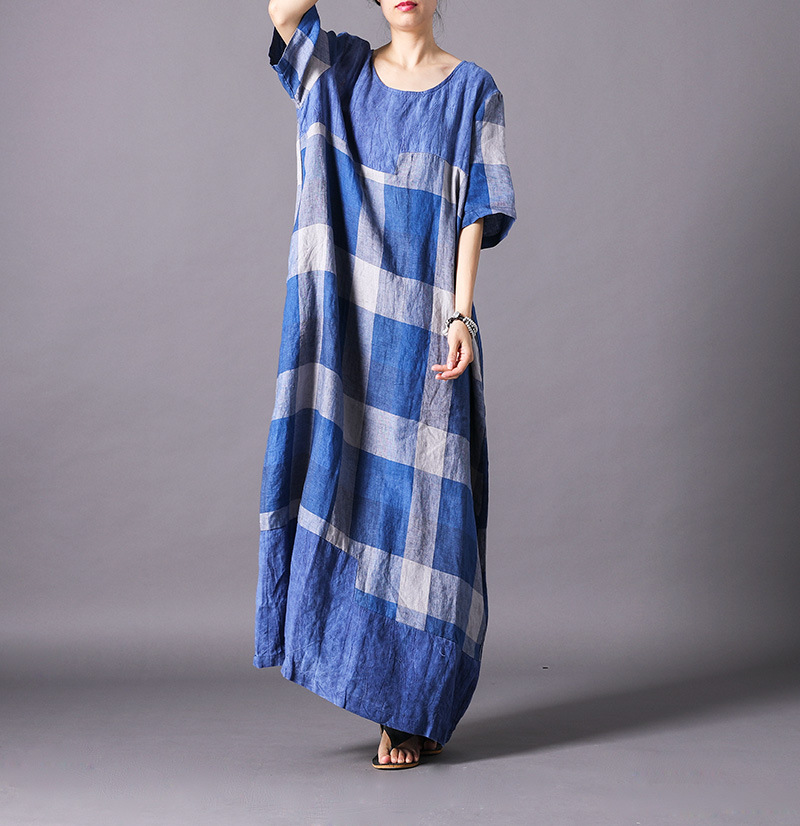 Fashion checked printed Literary and Art Leisure dress side Pockets Linen Cotton Soft Loose Dress
