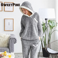 SWEETPINE Brand Top Quality Women Pajama Sets Winter Thicken Flannel Sleepwears 2 pcs/Set Hoodie Tops & Warm Pants Home Clothes