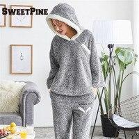 SWEETPINE Brand Top Quality Women Pajama Sets Winter Thicken Flannel Sleepwears 2 Pcs Set Hoodie Tops