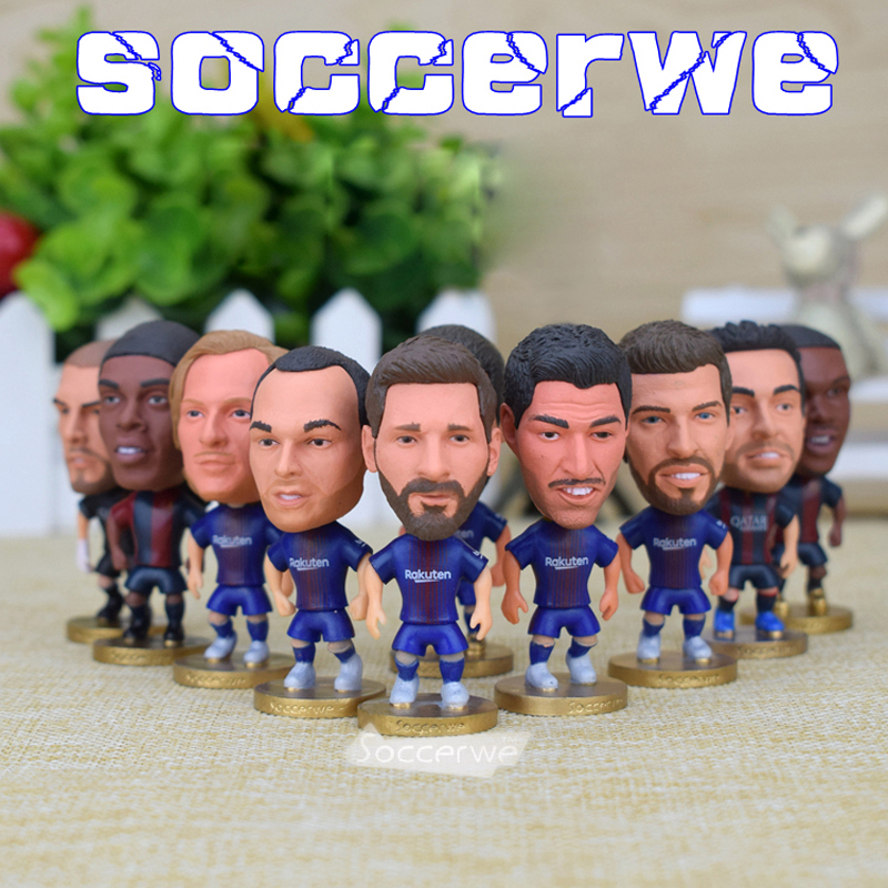14PCS + Display Box Soccer Barca Player Star Figurine 2.5