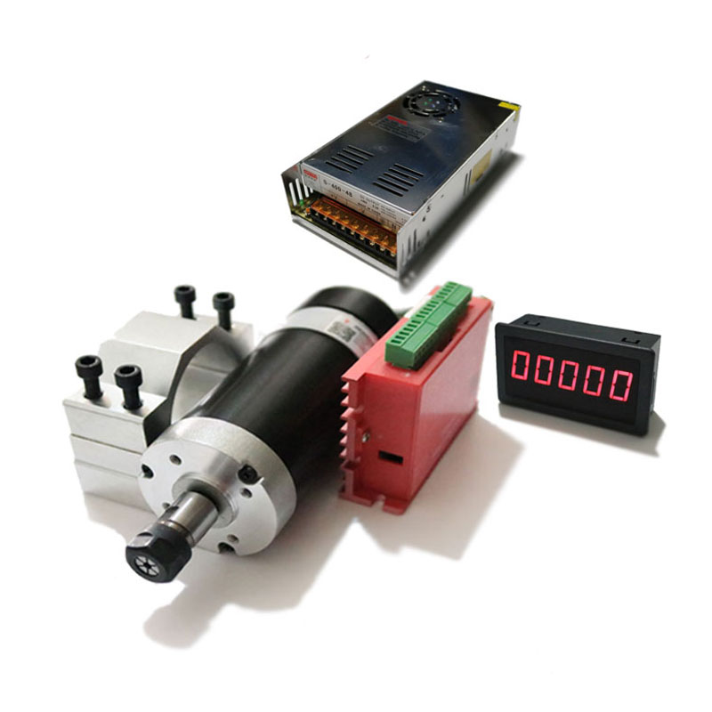 500W High Speed Brushless Electric Spindle Kit Electric Spindle + Drive + Motor Mount +48V Switching Power Supply + Tachometer