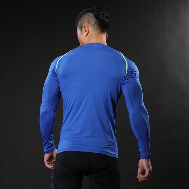 NANSHA Muscle Men Compression Shirts T-shirt Long Sleeves Thermal Under Top MMA Rashguard Fitness Base Layer Weight Lifting