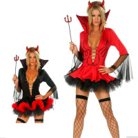 top quality Sexy devil Costume Halloween Red black Dress+Headwear+Tool 2016new Long Sleeve Adult devil Princess Cosplay Costumes