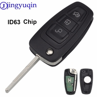 Jingyuqin 3B Keyless Entry Fob Flip Plegable Dominante Alejada 433 MHz 4D63 Chip Para Ford Focus Fiesta 2013 Caso Fob con La Lámina HU101
