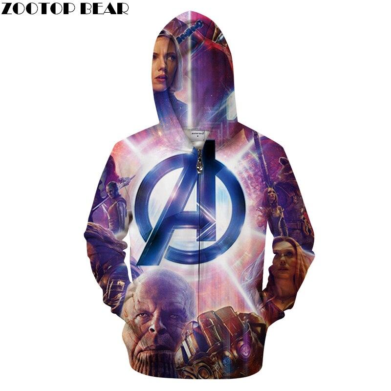 2019 The Avengers Zip Jacket Harajuku Style Fashion Man Women 3D Pullover Avengers Printed 3D Zipper Hoodie Men Loki Sweatshirts