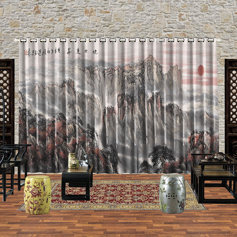 Personal Tailor 2pcs 200x260cm Drapery Panel Window Dressing Drape Draw Wave Curtain Landscape Sunrise Waterfall Village