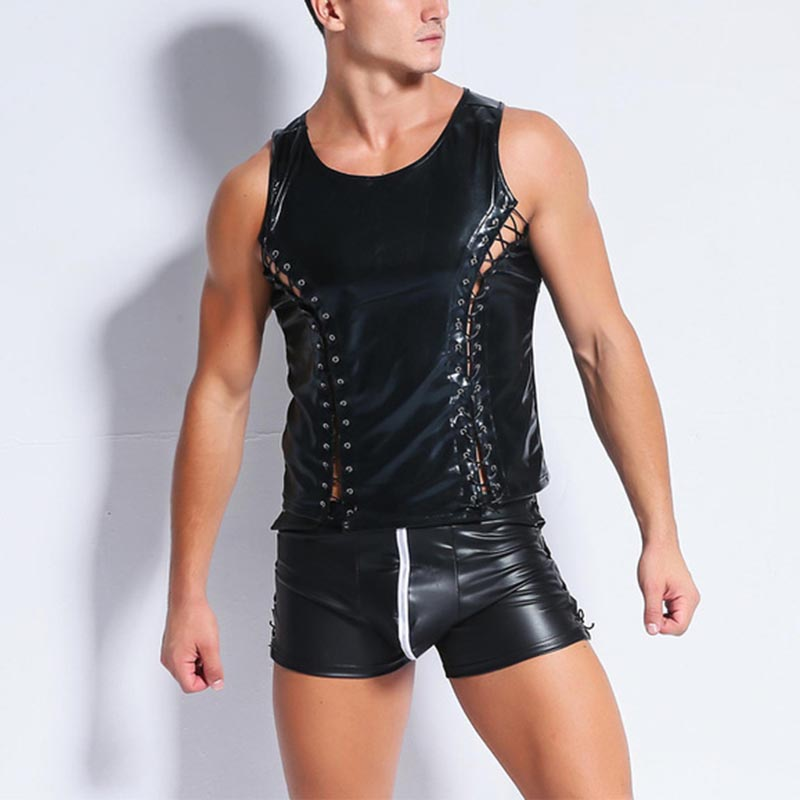 New Mens Sleeveless Lace Up Vest Top Leather Tshirts Sexy Men Fashion Tight Tank Faux Leather Undershirts Gay Fitness Tops Tees