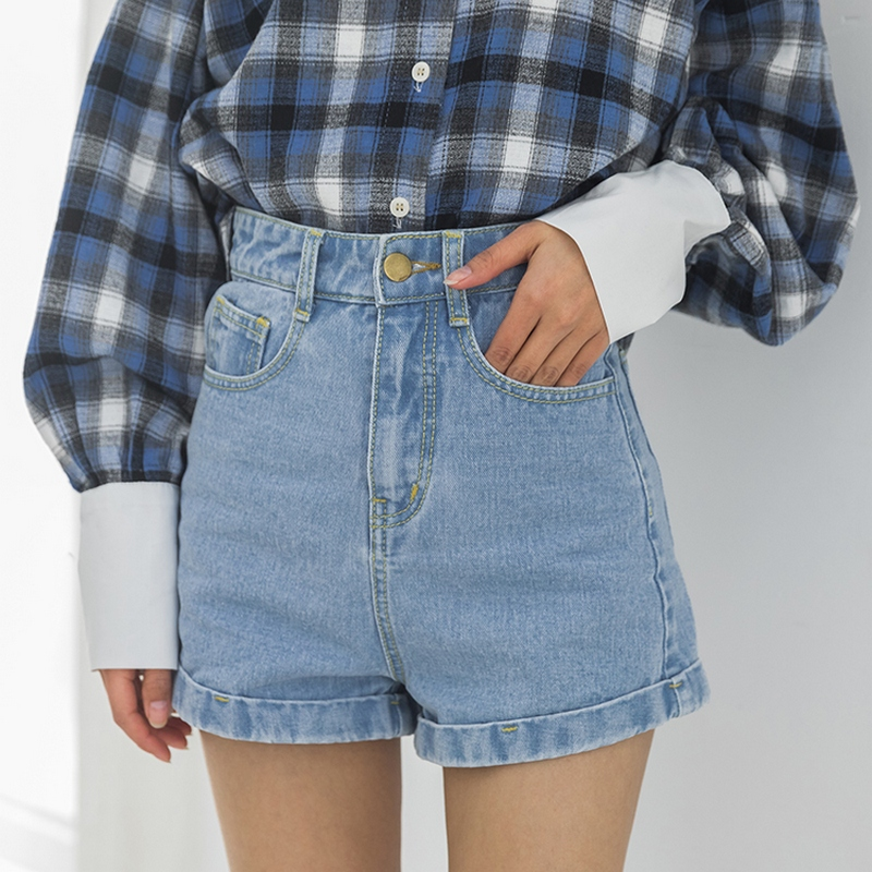 2019 Summer Shorts Women Sexy Vintage Denim High Waist Shorts Women Solid Curling Short Pants Europe Style Jeans Women's Shorts
