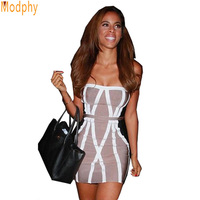 Hot Sexy Women's Bandage Dress with strapless shape sleeveless and striped pattern in club party ladies HL8894