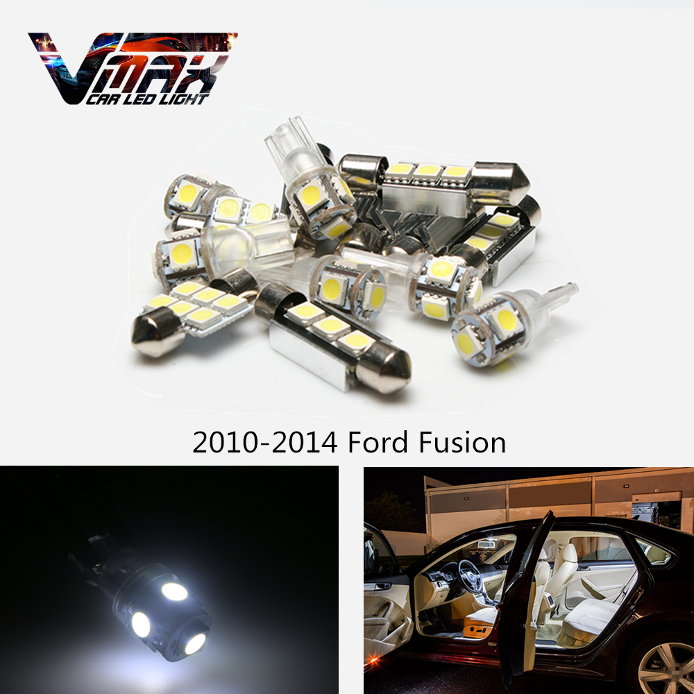 Vmax 10pcs auto car white led interior light package kit map dome door bulbs for 2010 2014 ford fusion car accessories lamps us