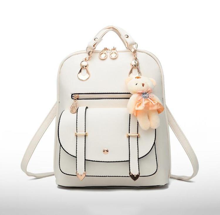 HTB1YQ21Db1YBuNjSszhq6AUsFXac Preppy Style Women Backpack Bear Toys PU Leather Schoolbags for Teenage Girls Female Rucksack Shoulder Bag Travel Knapsack