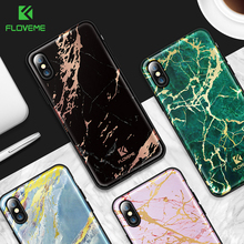 FLOVEME Golden Marble Case For iPhone X 8 Plus Cases Luxury IMD PC Silicon For iPhone 7 iPhone 6 6S Plus Phone Case Accessories