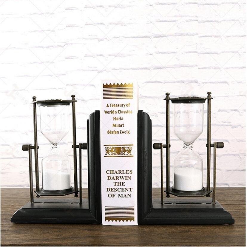 Vintage Style Decorative hourglass, sandglass, sand timer, sand clock Design Resin Bookshelf Bookends 14cm(L)*19cm(H)*10cm(W) retro style decorative hourglass sandglass antique bronze